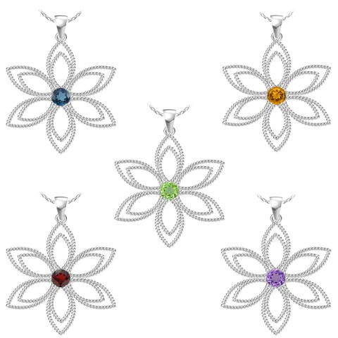 """Sterling Silver With Choice of Gemstone Flower Pendant Necklace with 18 """" Chain"""