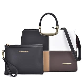 Dasein Faux Leather Briefcase Satchel Handbag With Matching Accessory Pouch