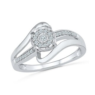 Sterling Silver White Round Diamond Fashion Ring - White I-J