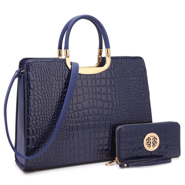 881786523004 Shop Dasein Patent Croco Print Briefcase with Matching Wallet - On ...