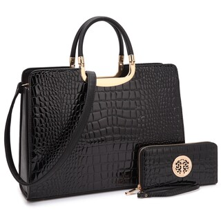 Dasein Patent Croco Print Briefcase with Matching Wallet (Option: Black)