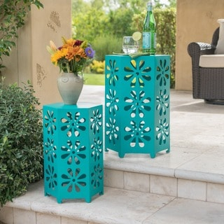 Dandelion Outdoor 12-inch &14-inch 2-piece Floral Iron Side Table Set by Christopher Knight Home