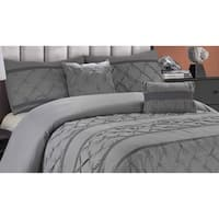 Hope 5 Piece Pintuck Texture Solid Bedding Set