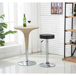 Porthos Home Adjustable Stool With Feet Rest and Chrome Base(Set of 2)