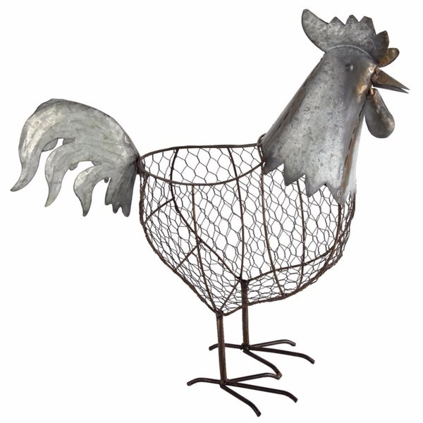 Versatile and Adorning Metal Rooster Basket