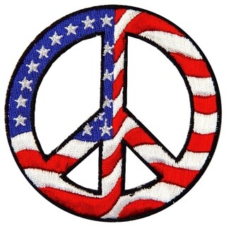 USA Peace Sign Embroidered Patch 3 Inches