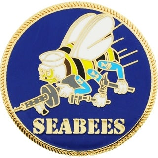 US Navy Seabees Logo Pin 1-1/2 Inches
