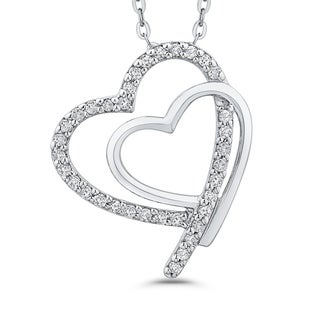 10K White Gold 1/10ct TDW Diamond Double Heart Pendant (J-K,I1-I2)