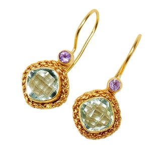 Handcrafted Gold Over Sterling Green Amethyst Earrings (India)