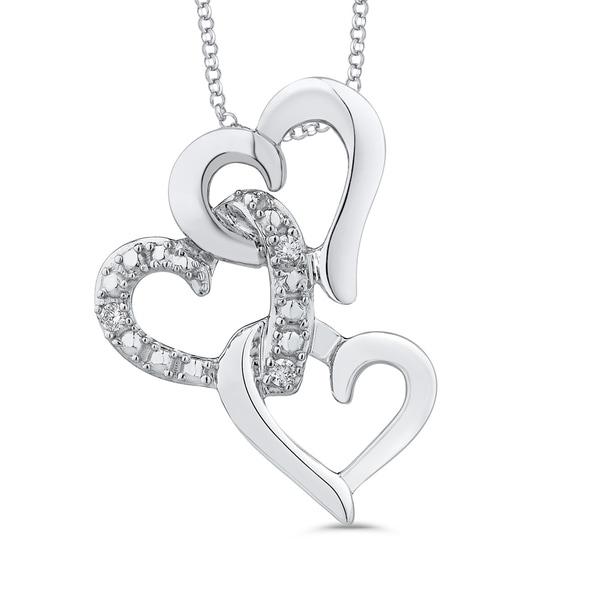 10k white gold interlock triple heart diamond pendant free 10k white gold interlock triple heart diamond pendant aloadofball Choice Image