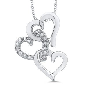 10K White Gold Interlock Triple Heart Diamond Pendant