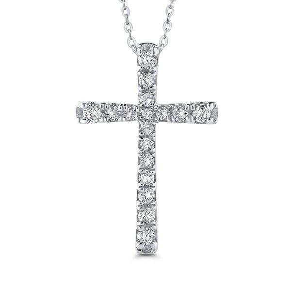 Shop 10K White Gold 3/8ct TDW Diamond Cross Pendant (I-J