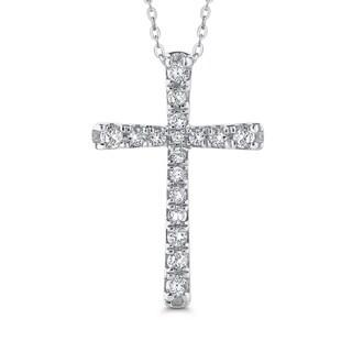 10K White Gold 3/8ct TDW Diamond Cross Pendant (I-J, I1)