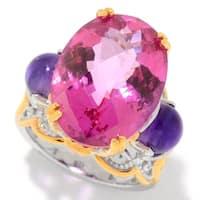 Michael Valitutti Palladium Silver Pink Topaz & African Amethyst Bead Ring