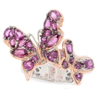Michael Valitutti Palladium Silver Multi Shape Rhodolite Scalloped Edge Butterfly Duo Ring