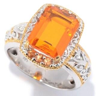 "Michael Valitutti Palladium Silver Fire Opal Orange Color Quartz Doublet & Orange Sapphrie ""Mini Czarina"" Cocktail Ring"
