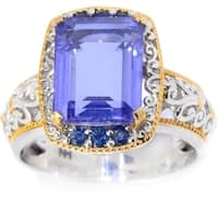 "Michael Valitutti Palladium Silver Tanzanite Quartz Doublet & Blue Sapphrie ""Mini Czarina"" Cocktail Ring"