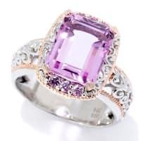 "Michael Valitutti Palladium Silver Pink Color Quartz Doublet & Pink Sapphire ""Mini Czarina"" Cocktail Ring"
