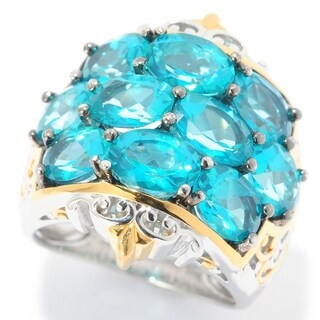 Michael Valitutti Palladium Silver Paraiba Color Topaz 10-Stone Cluster Ring