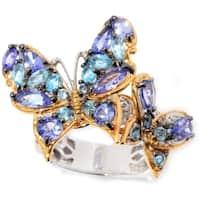 Michael Valitutti Palladium Silver Multi Shape Tanzanite & Swiss Blue Topaz Scalloped Edge Butterfly Duo Ring