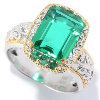 "Michael Valitutti Palladium Silver Green Color Quartz Doublet & Eemerald ""Mini Czarina"" Cocktail Ring