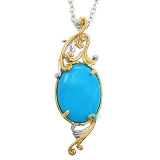 Michael Valitutti Palladium Silver Oval Sleeping Beauty Turquoise Pendant