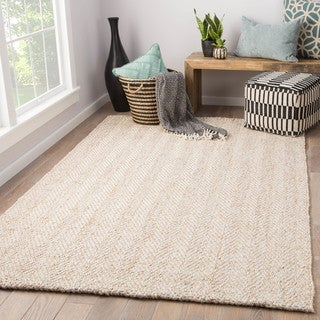 "Terre Handmade Chevron White/Beige Jute/Wool Area Rug (9' x 12') - 8'10"" x 11'9"""