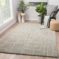 Jetson Grey/Cream Wool Handmade Abstract Area Rug (9' x 12')