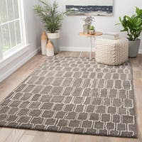 Juniper Home Slate Brown/Cream Wool Handmade Geometric Area Rug (9' x 12')