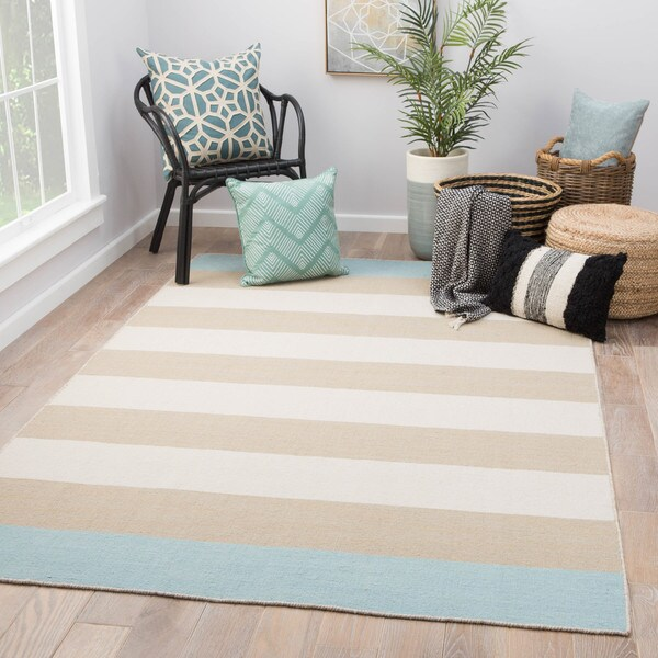 Shop Mendocino Handmade Stripe Tan Blue Wool Area Rug 9