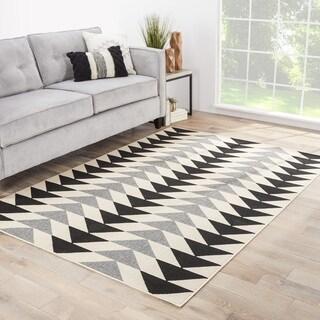 "Maverick Geometric Black/ Cream Indoor/ Outdoor Area Rug (9'6 x 13') - 9'6"" x 13'"