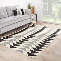 Maverick Geometric Black/ Cream Indoor/ Outdoor Area Rug (9'6 x 13')