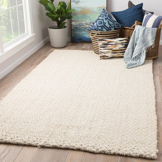 Tate Solid White Natural Jute Area Rug (10' x 14') - 10' x 14'