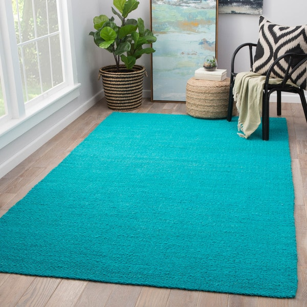 Quito Solid Turquoise Natural Jute Area Rug (10' x 14') - 10' x 14'