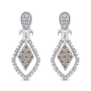 10K White Gold 1/10ct TDW White and Brown Diamond Drop Earrings (G-H, I2-I3)