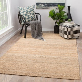 Quito Solid Beige Natural Jute Area Rug (10' x 14') - 10' x 14'