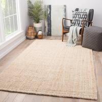 Havenside Home Chincoteague Solid Tan/ White Natural Jute Area Rug (10' x 14')