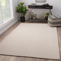Ellington Handmade Abstract Cream Wool Area Rug (9' X 12')
