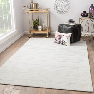 Juniper Home Fleet White/ Grey Wool/ Viscose Handmade Stripe Area Rug (9' x 12')