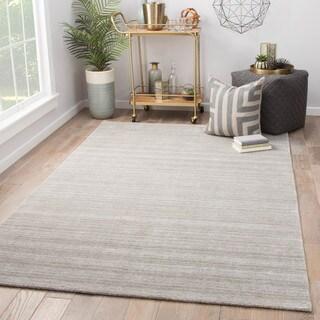 Fleet Grey/ Silver Wool/ Viscose Handmade Striped Area Rug (10' x 14') - 10' x 14'