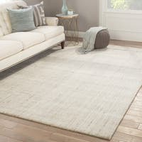 Minke Grey/ White Wool/ Viscose Handmade Striped Area Rug (9' x 13')