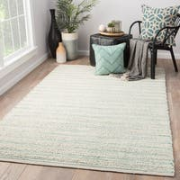 Solis Natural Stripe White/ Turquoise Jute Area Rug (9' X 12')