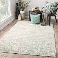 Juniper Home Solis Natural Stripe White/ Turquoise Jute Area Rug - 9' X 12'