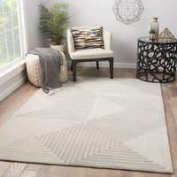Zaydan Geometric Grey/ Cream Handmade Area Rug (9' x 12')