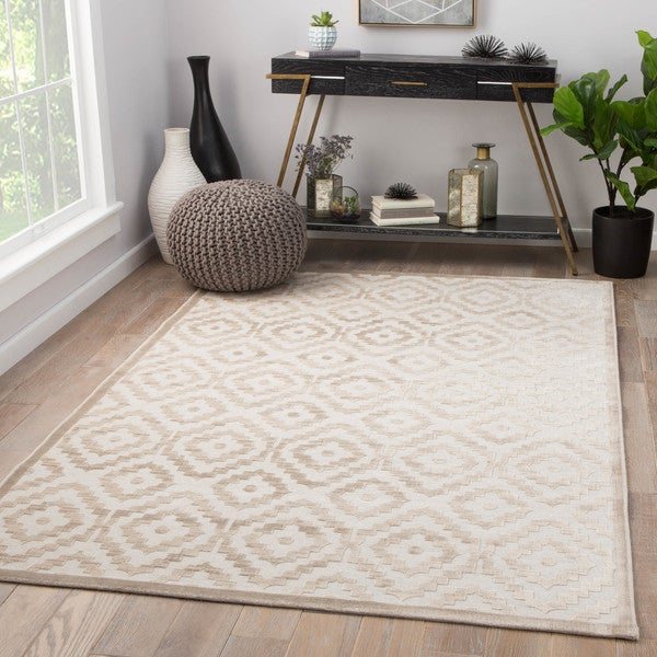 Savarin Trellis Cream/ Gray Area Rug (9' X 12')
