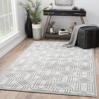 Marsielle White/Dark Grey Trellis Area Rug (9' X 12')