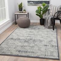 Juniper Home Marsielle Trellis Grey/Silver Area Rug - 9' x 12'