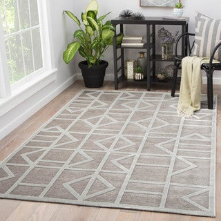 Totem Grey/White Geometric Area Rug (9' X 12') (Option: 9' X 12')