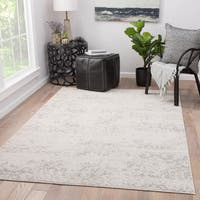 Cheyenne Abstract Grey/ White Viscose Blend Area Rug (9' x 12')