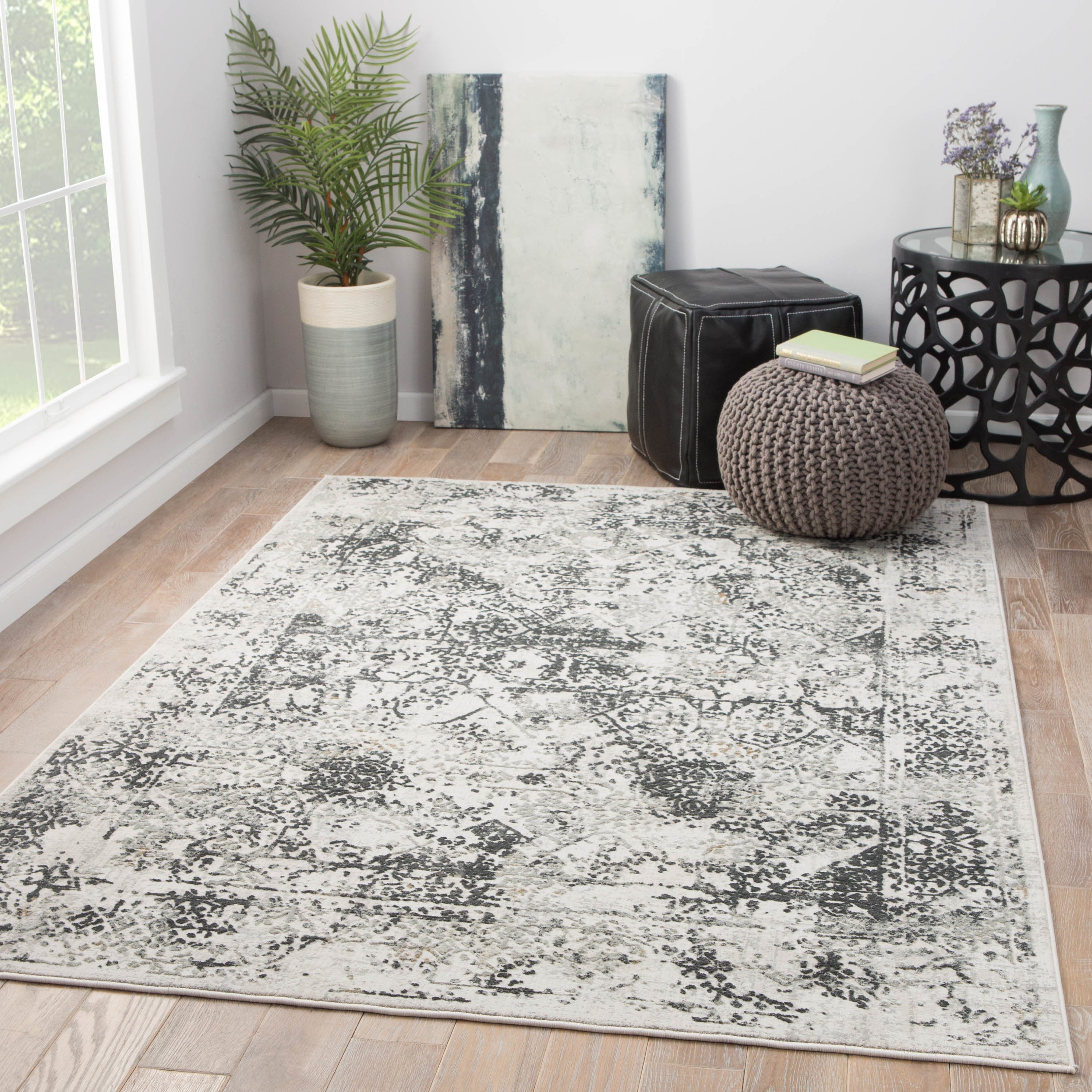 Juniper Home Olwyn White Grey Abstract Area Rug 10 X27 X 14